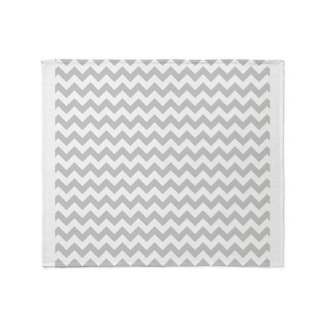 Gray and White Chevron Throw Blanket