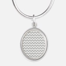 Gray and White Chevron Silver Oval Necklace