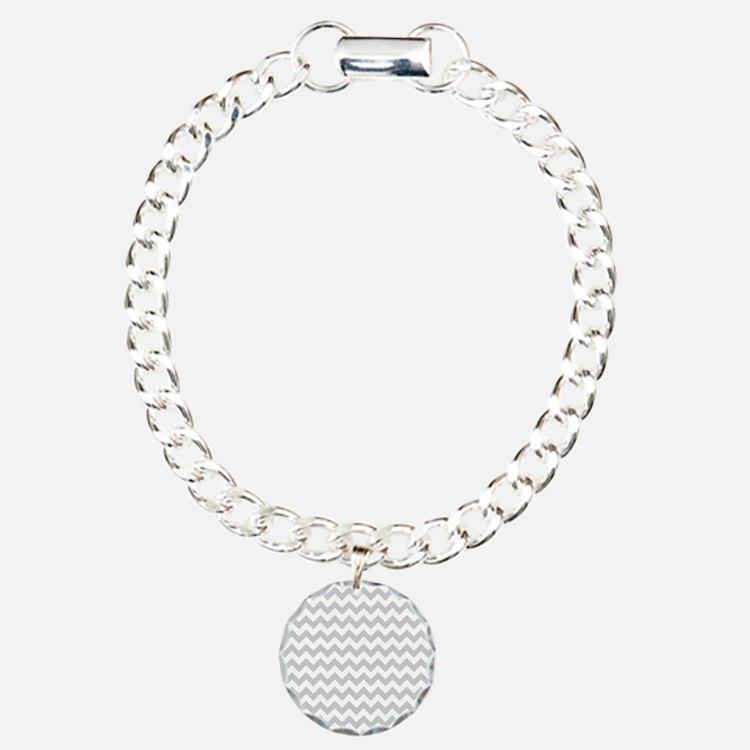 Gray and White Chevron Bracelet
