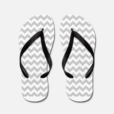 Gray and White Chevron Flip Flops