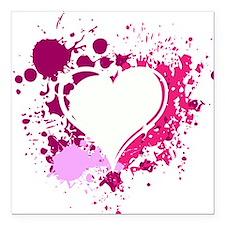 """Splattered Heart Square Car Magnet 3"""" x 3"""""""