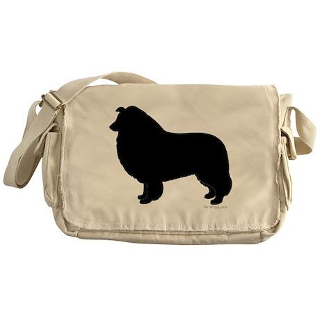 Rough Collie Silhouette Messenger Bag
