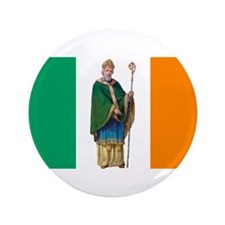 "St Patrick Irish flag 3.5"" Button"
