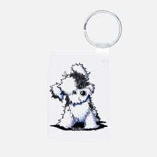 Curious BW Havanese Aluminum Photo Keychain