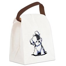 Curious BW Havanese Canvas Lunch Bag