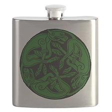 Celtic rond Green Dog Flask