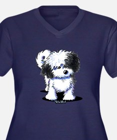 B/W Havanese Women's Plus Size V-Neck Dark T-Shirt