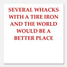 "tire iron Square Car Magnet 3"" x 3"""