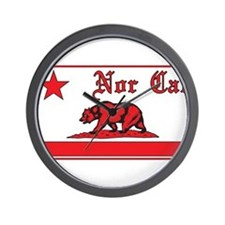 nor cal bear red Wall Clock