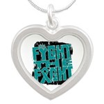 Fight The Fight Ovarian Cancer Silver Heart Neckla