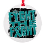 Fight The Fight Ovarian Cancer Round Ornament