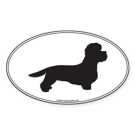 DD Terrier Silhouette Oval Sticker
