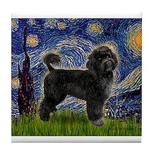Cute Portuguese water dog art Tile Coaster