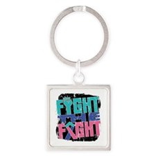 Fight The Fight Thyroid Cancer Square Keychain