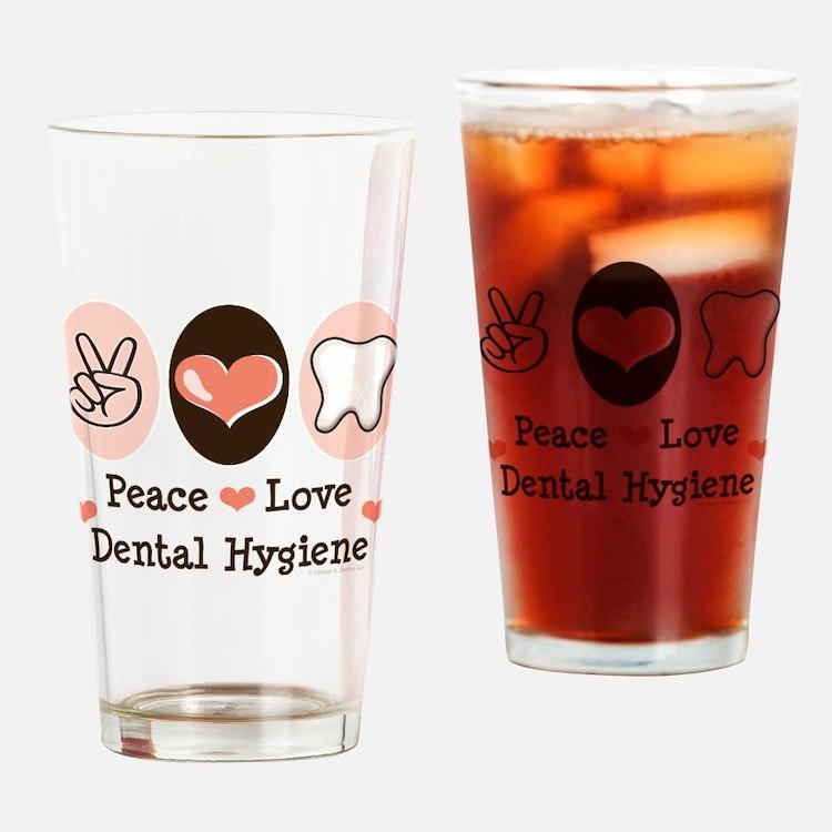 Cute Peace love health Drinking Glass