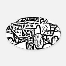 Jump Truck Oval Car Magnet