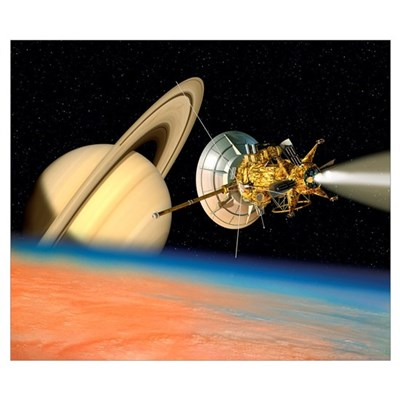 Computer artwork of Cassini spacecraft over Titan Poster