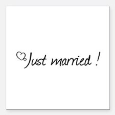 """Just Married Square Car Magnet 3"""" x 3"""""""