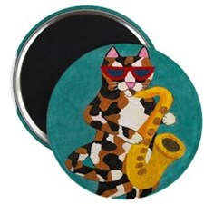 Calico Cat Playing Saxophone Magnet