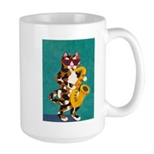 Calico Cat Playing Saxophone Mug