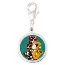 Calico Cat Playing Saxophone Silver Round Charm