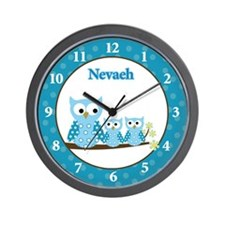Blue Hoot Owl Clock Nevaeh Wall Clock