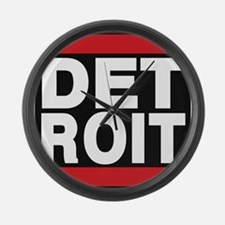 detroit red Large Wall Clock