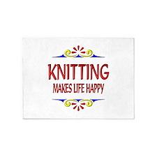 Knitting Happy Life 5'x7'Area Rug