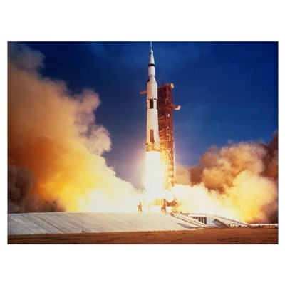 Launch of Apollo 11 spacecraft en route to Moon Framed Print