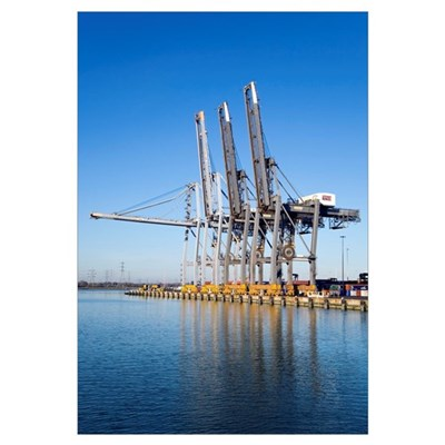 Dockside cranes Framed Print