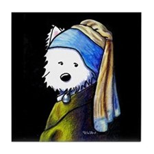 Westie With Pearl Earring Tile Coaster