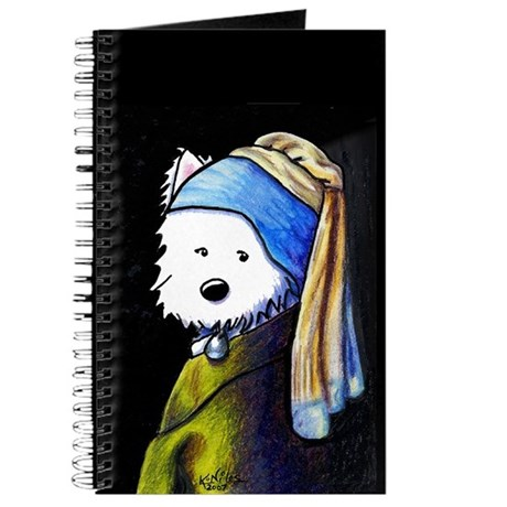 Westie With Pearl Earring Journal