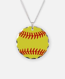 Cute Fast pitch softball Necklace Circle Charm