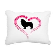 Heart My Collie Rectangular Canvas Pillow