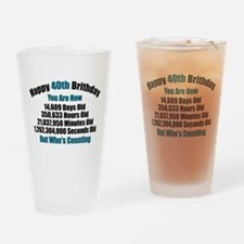 40th Birthday T-shirt Drinking Glass