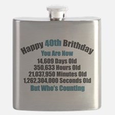 40th Birthday T-shirt Flask