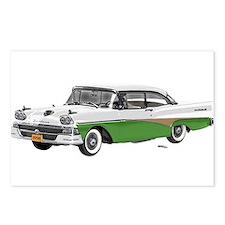1958 Ford Fairlane 500 White & Light Green Postcar