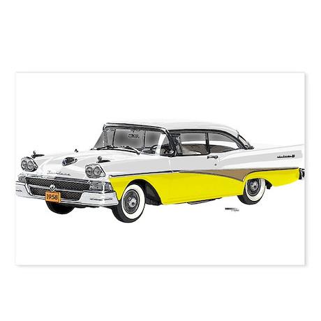 1958 Ford Fairlane 500 White & Yellow Postcards (P