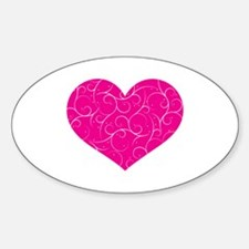 Pink Swirly Heart Sticker (Oval)