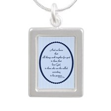 Romans 8 28 Bible Verse blue Silver Portrait Neckl