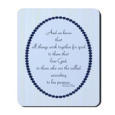 Romans 8 28 Bible Verse blue Mousepad
