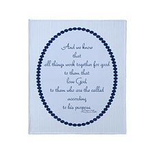 Romans 8 28 Bible Verse blue Throw Blanket