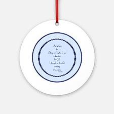 Romans 8 28 Bible Verse blue Ornament (Round)