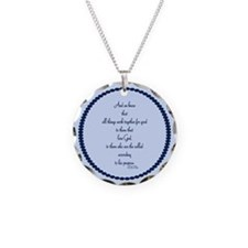 Romans 8 28 Bible Verse blue Necklace
