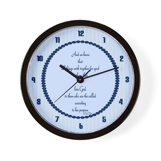Romans 8 28 Bible Verse blue Wall Clock by ...