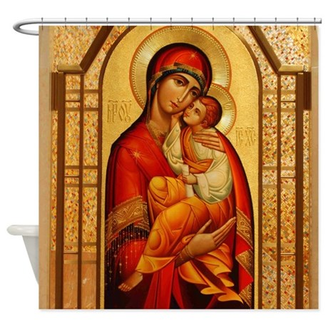 Mary the God Bearer Shower Curtain