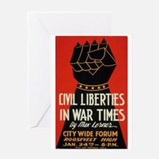 Civil Liberties Black Fist Greeting Cards