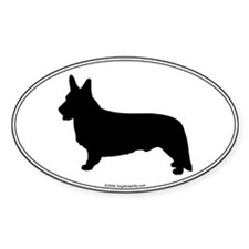 CW Corgi Silhouette Oval Decal