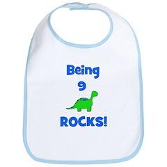 Being 9 Rocks! Dinosaur Bib