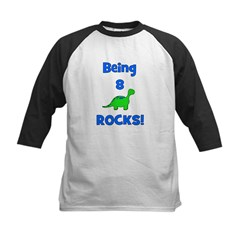 Being 8 Rocks! Dinosaur Kids Baseball Jersey